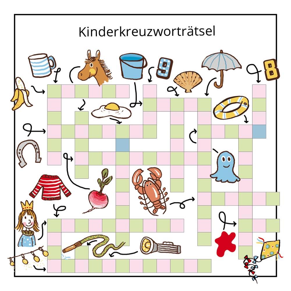 Kinderrätsel Kreuzworträtsel von Christine Reguigne mit Illustrationen von Judith Drews