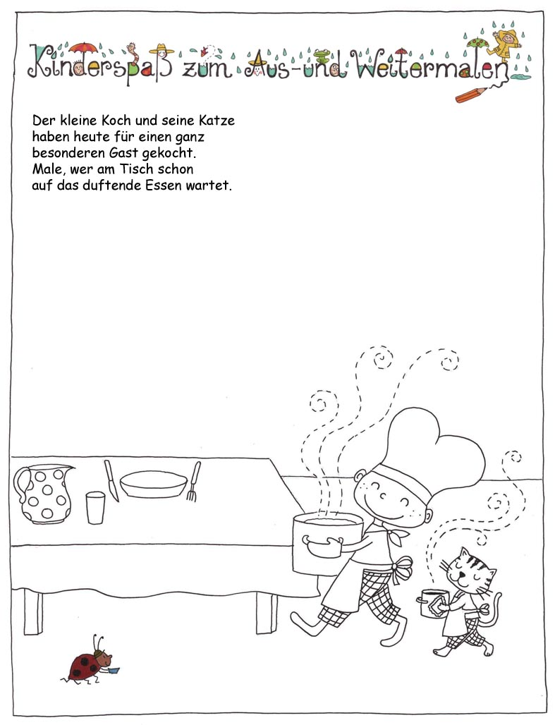 Ausmalbilder, Weitermalbilder, Kinderspaß von Outi Kaden bei der Rätselschmiede