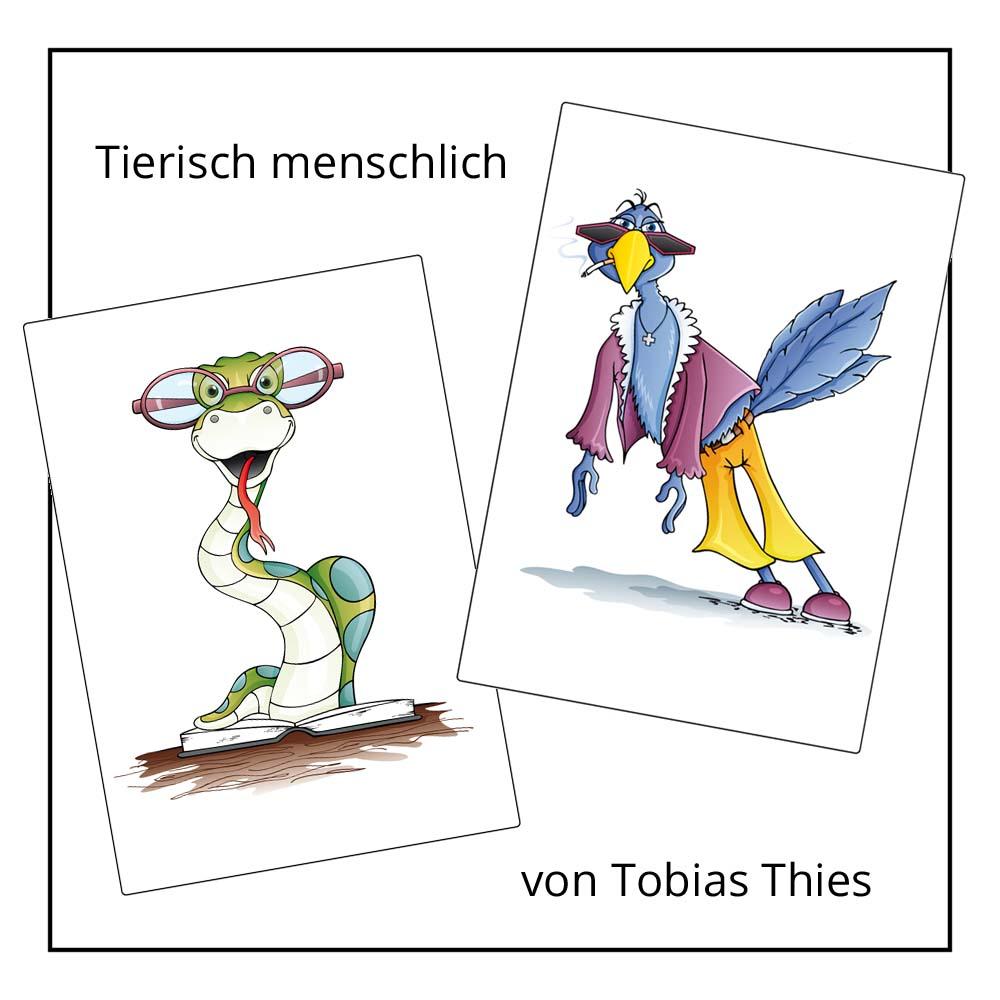 Rätselcartoon Tierisch menschlich von Tobias Thies bei der Rätselschmiede