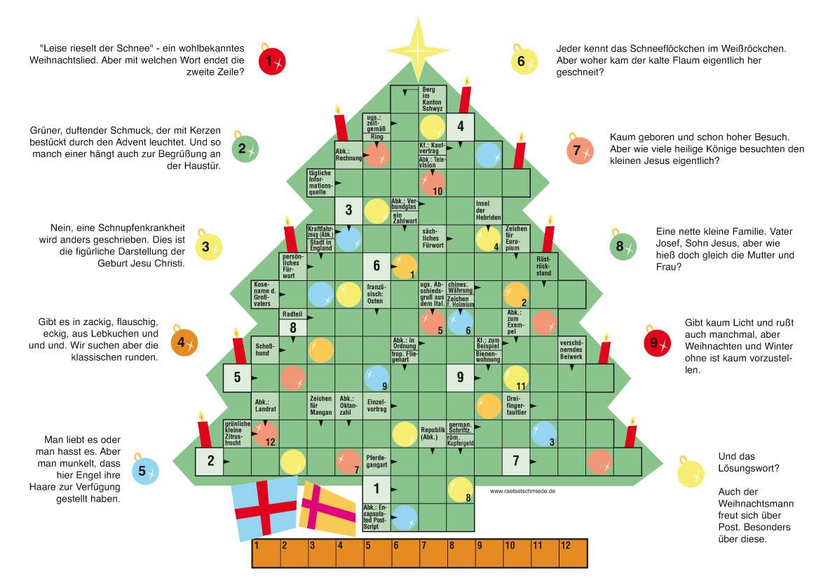 Weihnachtsrätsel bei der Rätselschmiede