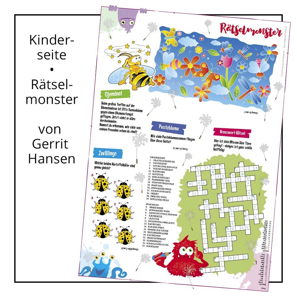 Kinderseite Rätselmonster von Gerrit Hansen bei der Rätselschmiede