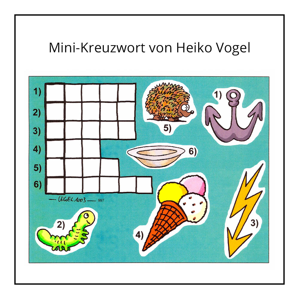"Kinderrätsel ""Kreuzworträtsel"" von Heiko Vogel bei der Rätselschmiede"